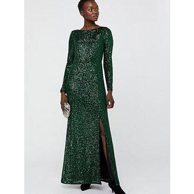 Monsoon Jaidynn Sequin Long Sleeve Maxi Dress - Green