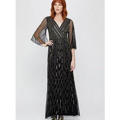 Monsoon Lizzie Linear Embellished Maxi Dress - Black