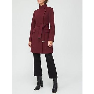V By Very Funnel Neck Coat - Plum