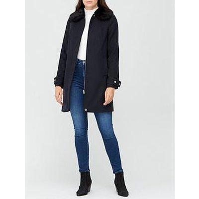 V By Very Zip Faux Fur Collar Coat - Navy