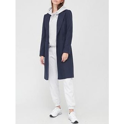 V By Very Longline Single Breasted Coat - Navy