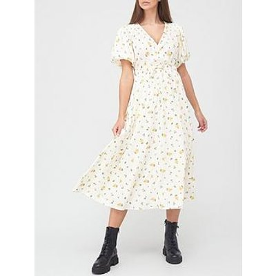 V By Very Puff Sleeve Spun Wrap Dress - White Floral