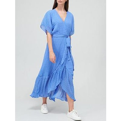 V By Very Crinkle Ruffle Front Wrap Dress - Blue