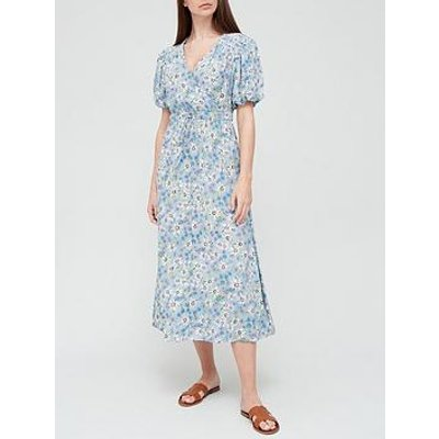 V By Very Puff Sleeve Spun Wrap Dress - Blue Floral