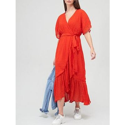 V By Very Crinkle Ruffle Front Wrap Dress - Orange