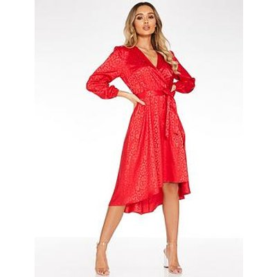 Quiz Leopard Jaquard Wrap Front Balloon Sleeve Dip Hem Dress - Red