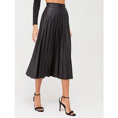 Quiz Quiz Pu Pleated Midi Skirt - Black