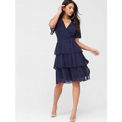 Quiz Quiz Chiffon Tiered Midi Dress - Navy