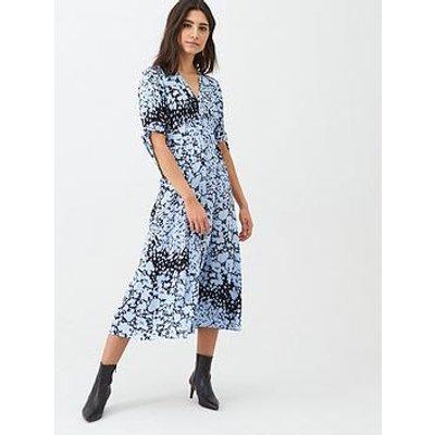 Whistles Brushed Animal Neave Dress - Blue/Multi