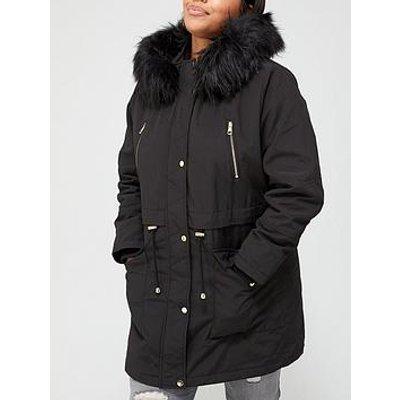 V By Very Curve Zip Detail Faux Fur Trim Hooded Parka Coat - Black