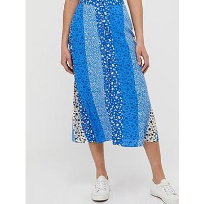 Monsoon Poppy Patch Sustainable Viscose Skirt - Blue
