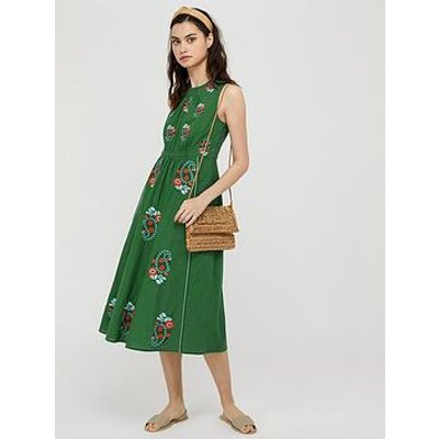 Monsoon Etti Embroidered Organic Cotton Dress - Green