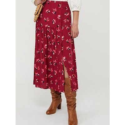 Monsoon Betty Print Ecovero Tiered Skirt - Red