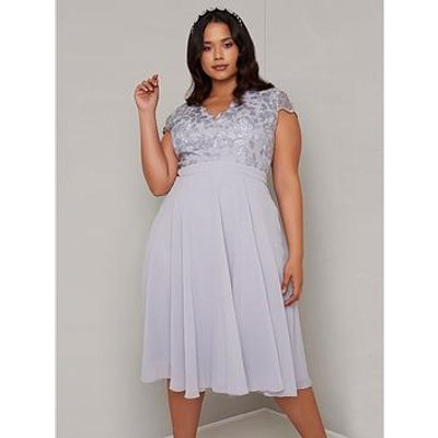 Chi Chi London Curve Nada Lace Top Dress - Blue