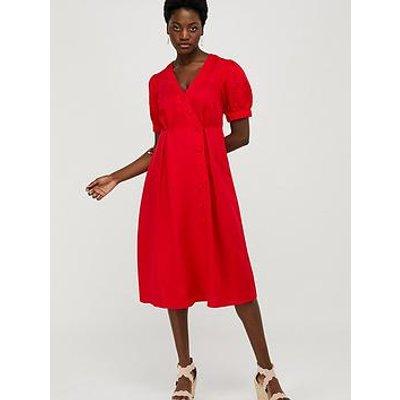 Monsoon Terra Linen Blend Tea Dress - Red