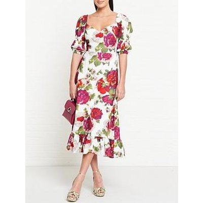 Talulah Beyond Floral Print Midi Dress - White