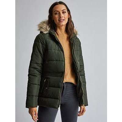 Dorothy Perkins Short Padded Coat - Olive Green