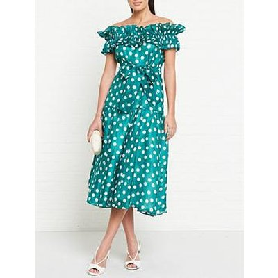 Talulah All My Days Polka Dot Off Shoulder Dress - Green