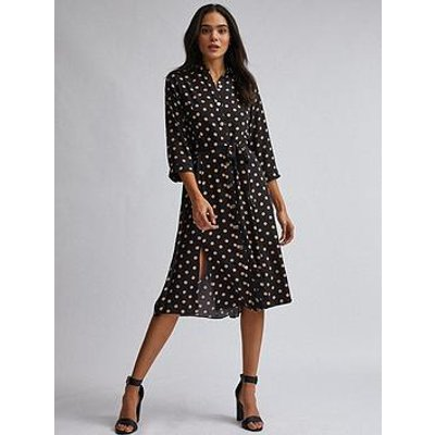 Dorothy Perkins Spot Midi Shirt Dress - Black