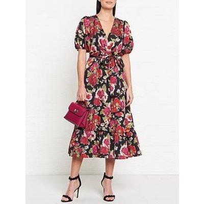 Talulah Envision Floral Print Wrap Midi Dress - Black