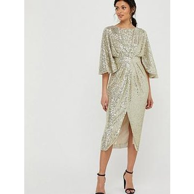 Monsoon Sophia Sequin Cape Sleeve Midi Dress - Gold