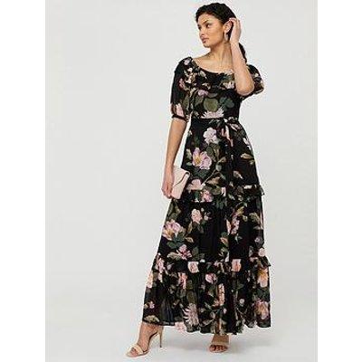 Monsoon Keya Sustainable Floral Maxi Dress - Black