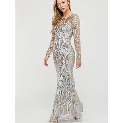 Monsoon Lily Gold Sequin Maxi Dress - Silver