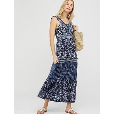 Monsoon Farrah Jersey Lenzing Ecovero Maxi Dress - Navy