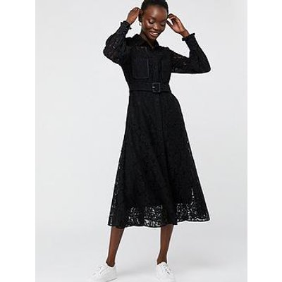 Monsoon Yvie Lace Shirt Dress - Black