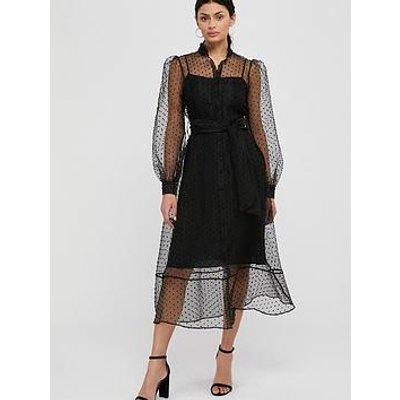 Monsoon Dione Dobby Organza Shirt Dress - Black