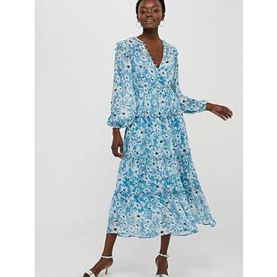 Monsoon Dede Daisy Sustainable Tiered Midi Dress - Blue