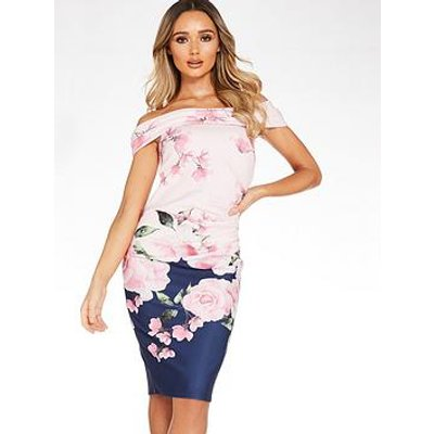 Quiz Print Ruched Detail Bardot Dress - Navy Floral