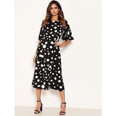 Ax Paris Polka Dot Midi Dress - Black