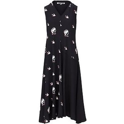 Mcq Alexander Mcqueen Hakama Swallow Print Midi Dress - Black
