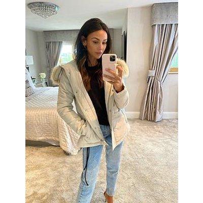 Michelle Keegan Short Faux Fur Hooded Parka Coat - Cream