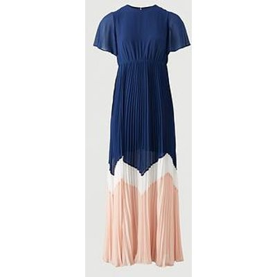 V By Very Angel Sleeve Colour Block Maxi Dress - Navy