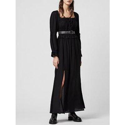 Allsaints Kimi Sheer Detail Long Sleeve Midi Dress - Black