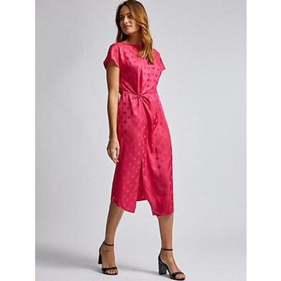 Dorothy Perkins Dorothy Perkins Hot Pink Jacquard Manipulated Waist Midi Dress