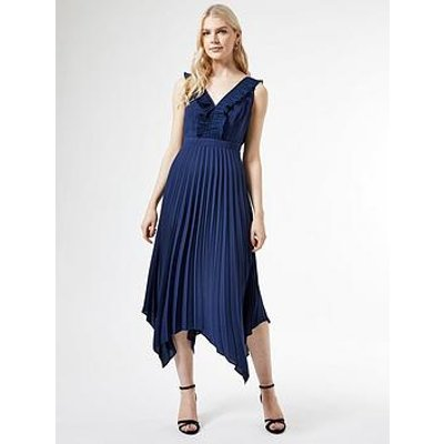 Dorothy Perkins Dorothy Perkins Luxe Pleat Trim Midi Dress - Navy
