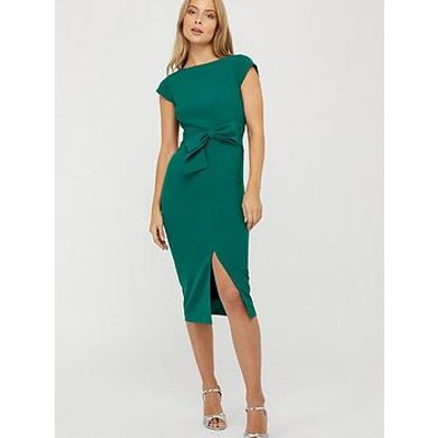 Monsoon Tilda Recycled Polyester Bow Shift Dress - Green