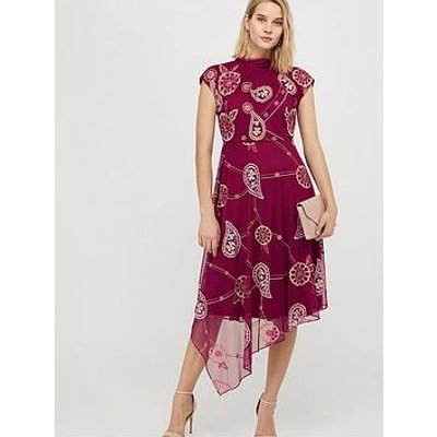 Monsoon Annelisse Recycled Polyester Embroidered Dress - Berry