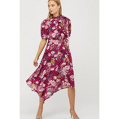 Monsoon Frances Print Lurex Spot Hanky Hem Dress - Berry