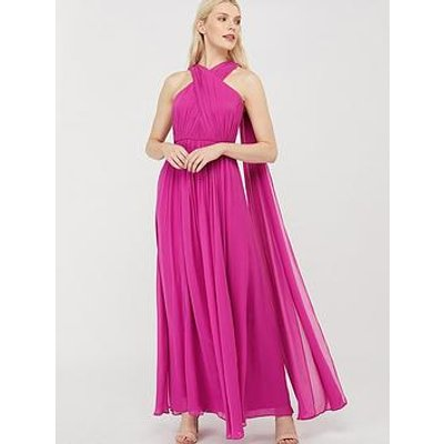 Monsoon Maura Cross Neck Cape Maxi Dress - Pink