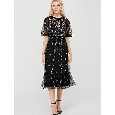 Monsoon Emma Embroidered Polyester Midi Dress - Black
