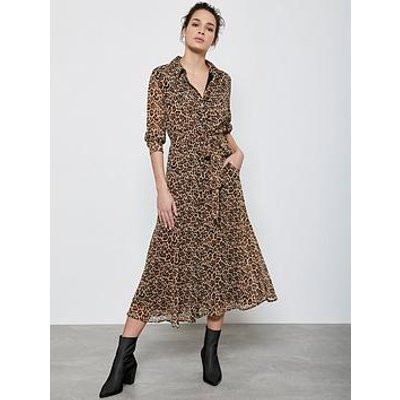 Mint Velvet Isabel Animal Midi Shirt Dress - Neutral