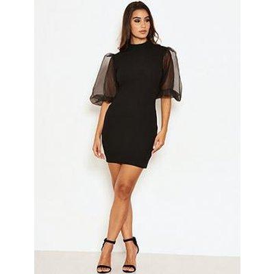 Ax Paris Puff Sleeve Bodycon Dress - Black