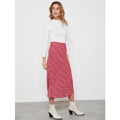 Mint Velvet Poppy Lips Midi Slip Skirt - Red