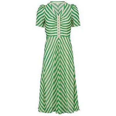 L.K. Bennett Holzer Silk Striped Pearl Detail Dress - Green