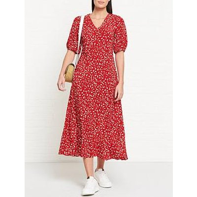 L.K. Bennett Simpson Floral Print Oversized Sleeve Midi Dress - Red