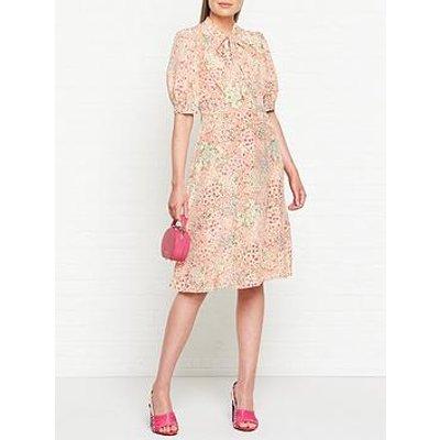 L.K. Bennett Marceau Silk Floral Print Pussybow Neckline Midi Dress - Pink